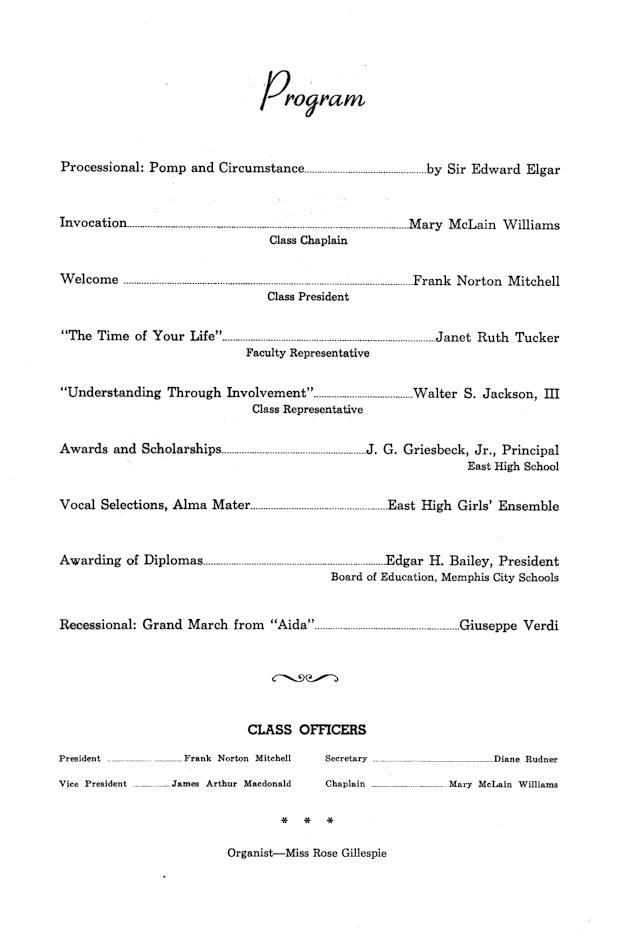 Commencement Program, order of service