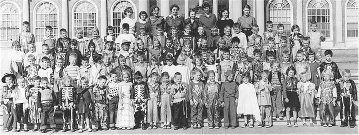 Morning class (or classes) of Mrs. Trenor's 1956-57 kindergarten class at East, members of which would become the Class of 1969.